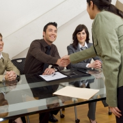 Shaking hands at interview